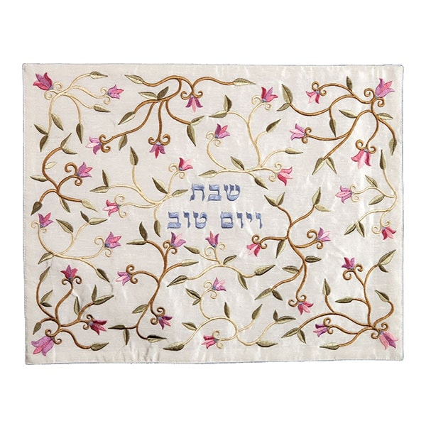 , Challah cover (embroidery) flowers – pink on white, Jewish.Shop