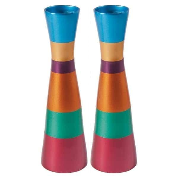 """, Large Shabbat Candlesticks """"Striped Jacket"""" – Colorful, Jewish.Shop"""