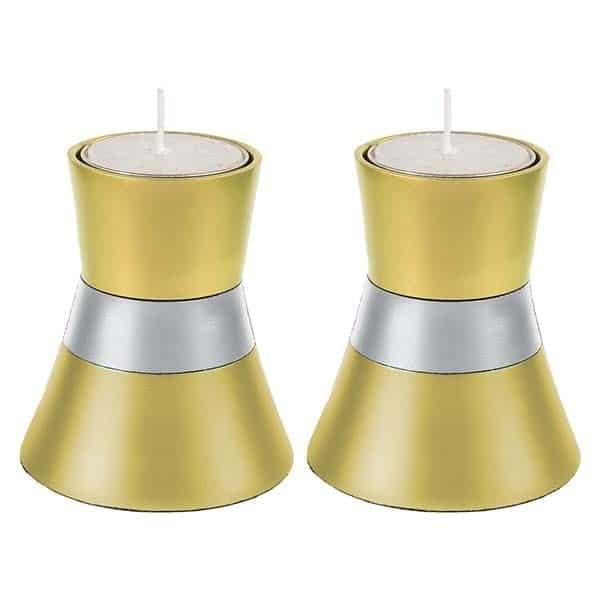 ", Shabbat Candlesticks ""Wedding Dress"" – Gold, Jewish.Shop"