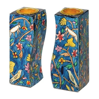 ", Shabbat Candlesticks ""Unity"" – bird and flower, Jewish.Shop"