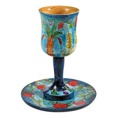 ", Kiddush Cup ""wood Painting"" – The Seven Species, Jewish.Shop"