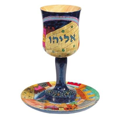 """, Kiddush Cup """"wood Painting"""" – Elijah the Prophet, Jewish.Shop"""
