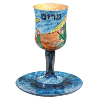 ", Kiddush Cup ""wood Painting"" – Miriam Prophet, Jewish.Shop"