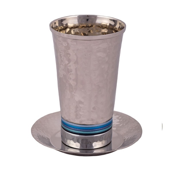 """, """"Grandpa's Kiddush Cup"""" with a matching plate – blue rings, Jewish.Shop"""