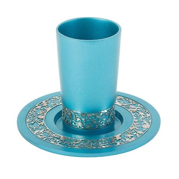 ", Kiddush Cup ""Pomegranate Orchard pardes rimonim"" turquoise, Jewish.Shop"