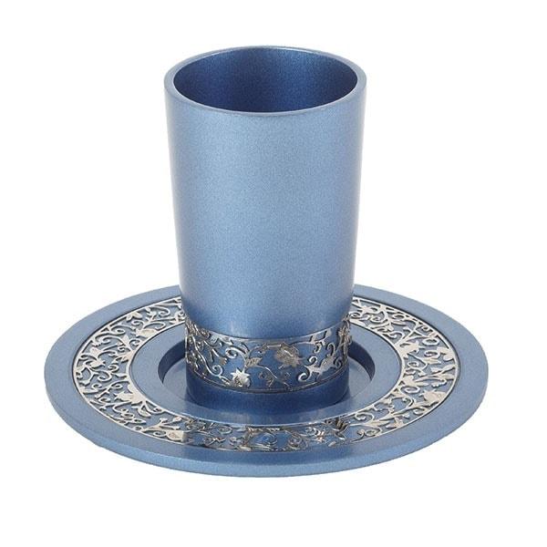", Kiddush Cup ""Pomegranate Orchard pardes rimonim"" blue, Jewish.Shop"
