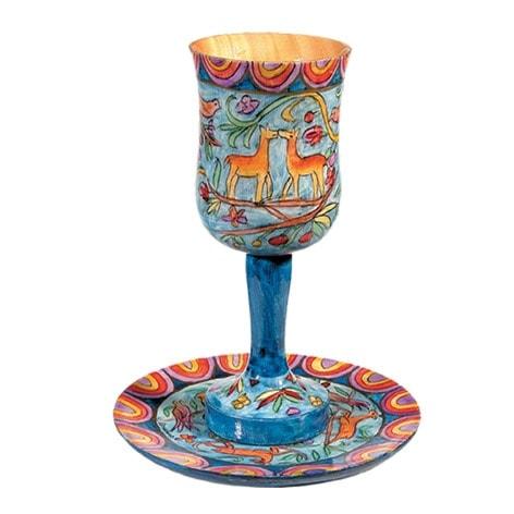 ", Kiddush Cup ""Big wood Painting"" – as a reindeer, Jewish.Shop"