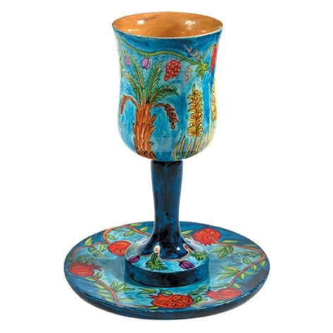 ", Kiddush Cup ""Big wood Painting"" – The Seven Species, Jewish.Shop"