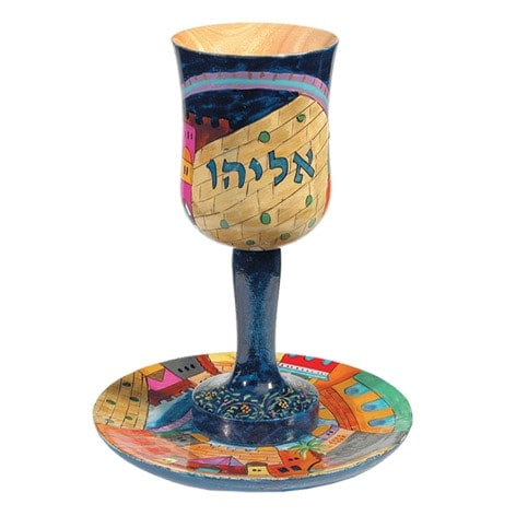 ", Kiddush Cup ""Big wood Painting"" – Elijah the Prophet, Jewish.Shop"