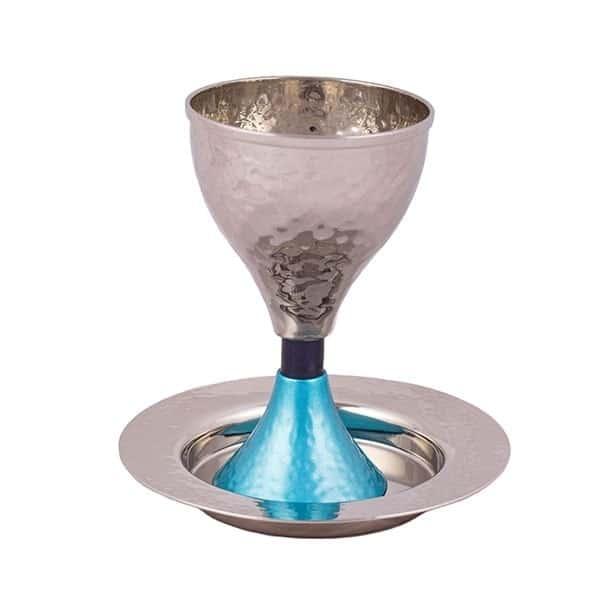 ", Kiddush Cup ""hourglass"" – blue turquoise, Jewish.Shop"