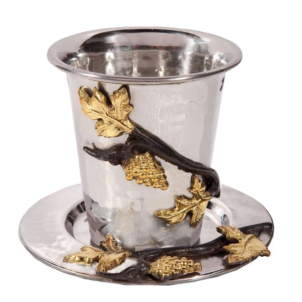 ", Kiddush Cup ""gold leaves"" – grapes, Jewish.Shop"