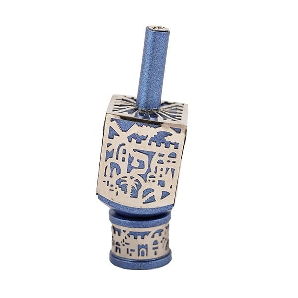, Small Dreidel – Blue – Jerusalem, Jewish.Shop