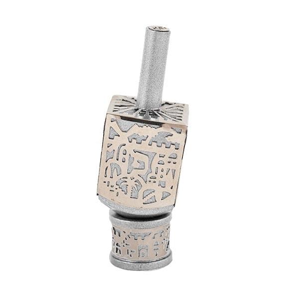 , Small Dreidel – Silver – Jerusalem, Jewish.Shop