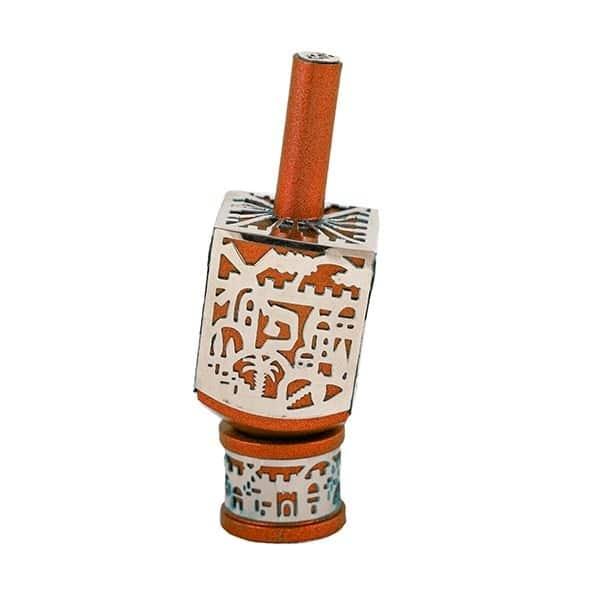 , Small Dreidel – orange – Jerusalem, Jewish.Shop