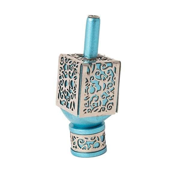 , Small Dreidel – turquoise – Pomegranate s, Jewish.Shop