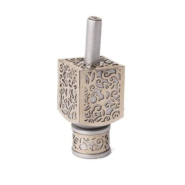 , Small Dreidel – Silver – Pomegranate s, Jewish.Shop