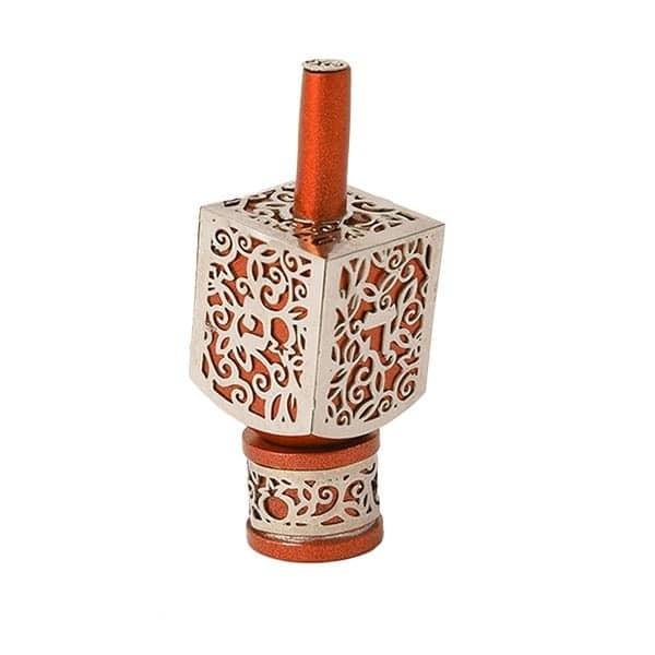, Small Dreidel – orange – Pomegranate s, Jewish.Shop