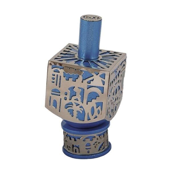 , Medium  Dreidel – Blue – Jerusalem, Jewish.Shop