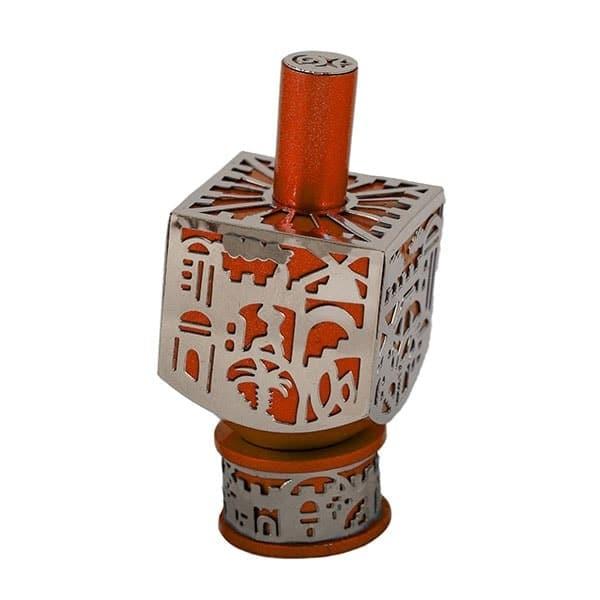 , Medium  Dreidel – orange – Jerusalem, Jewish.Shop