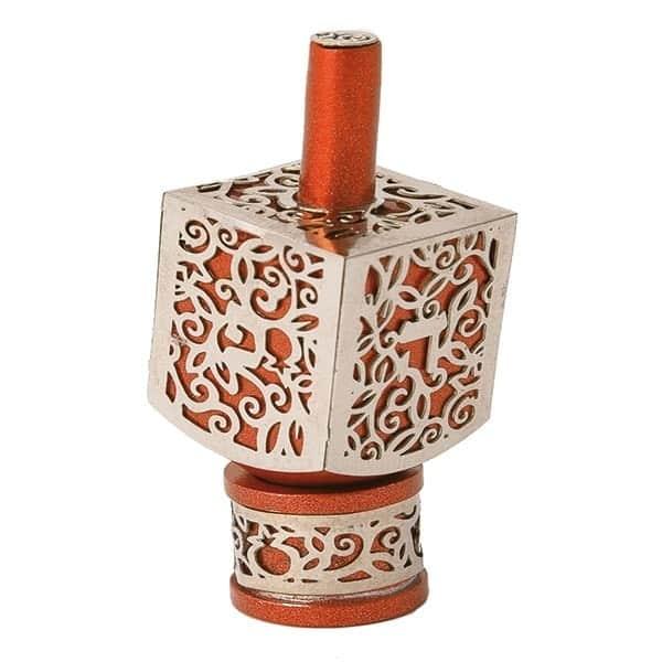 , Medium  Dreidel – orange – Pomegranate s, Jewish.Shop