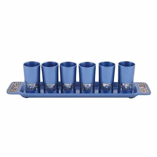 """, Set of small Kiddush Cups  """"six on a tray"""" – metal cut – blue, Jewish.Shop"""