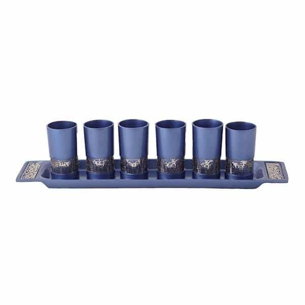 """, Set of small Kiddush Cups """"Six on a Tray"""" – Metal Cut – Blue Jerusalem, Jewish.Shop"""
