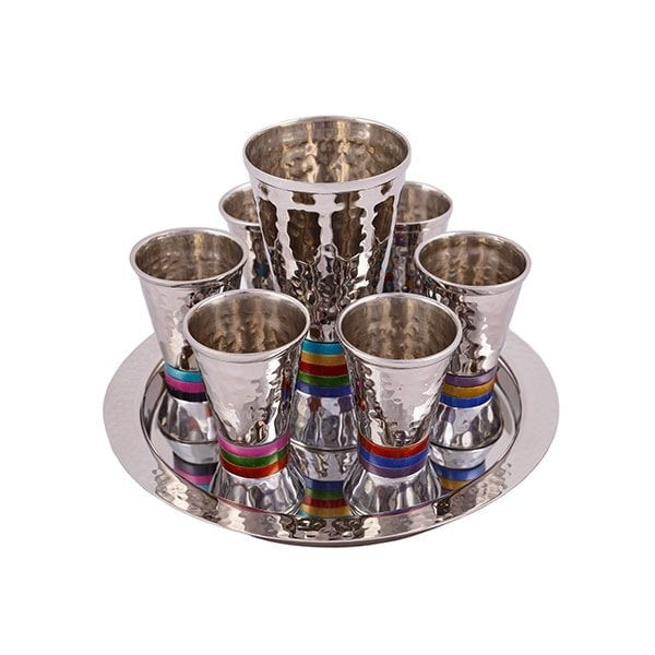 , Kiddush Fountain set – hammer work and colorful rings, Jewish.Shop