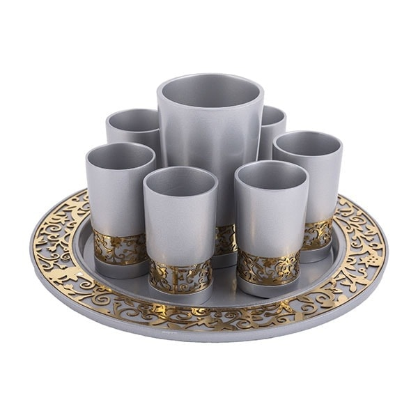 , Kiddush Fountain set – silver metal cut, Jewish.Shop