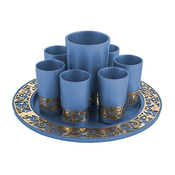 , Kiddush Fountain set – blue metal cut, Jewish.Shop