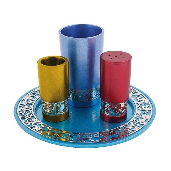 ", Havdalah set ""decorated and smooth"" – colorful, Jewish.Shop"