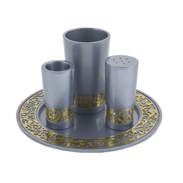 ", Havdala set ""decorated and smooth"" – silver, Jewish.Shop"