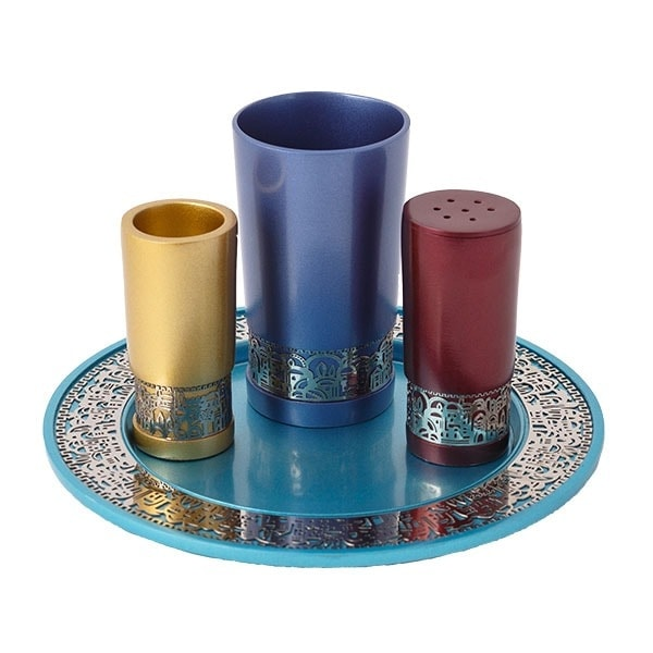 ", Havdalah set ""decorated and smooth"" – colorful Jerusalem, Jewish.Shop"