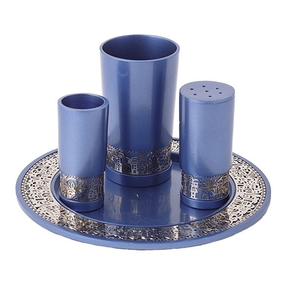 ", Havdalah set ""decorated and smooth"" – Jerusalem Blue, Jewish.Shop"