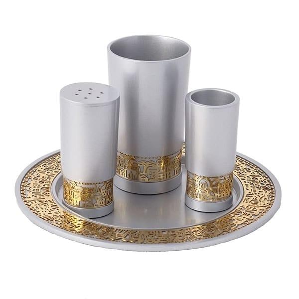 ", Havdalah set ""decorated and smooth"" – aluminum, Jewish.Shop"