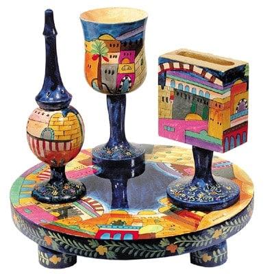 ", Havdalah set ""Painting on wood"" – Jerusalem, Jewish.Shop"