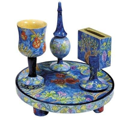 ", Havdalah set ""painting on tree"" – the seven species, Jewish.Shop"
