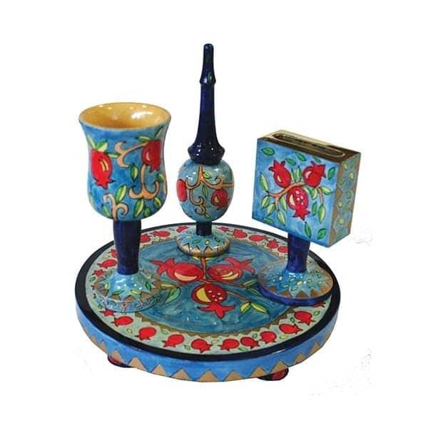", Havdalah set ""painting on wood"" – Pomegranate s, Jewish.Shop"