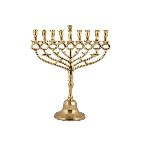 , Copper Menorah – Pomegranates (30 cm), Jewish.Shop