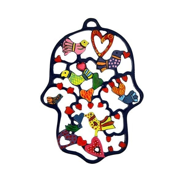 , Colorful 'Hamsa' wall decoration – birds, Jewish.Shop