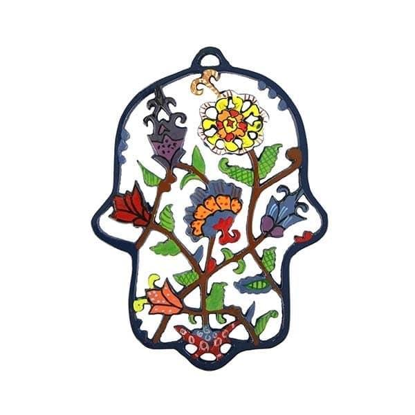 , Colorful 'Hamsa' wall decoration – flowers, Jewish.Shop