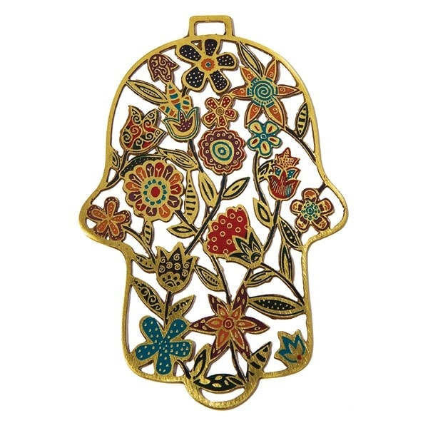 , Colorful decoration for the 'Hamsa' wall Copper etch – flowers, Jewish.Shop
