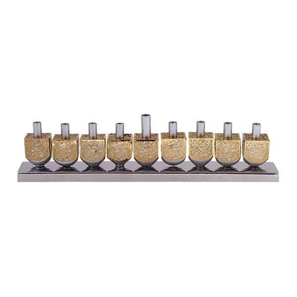 , Dreidel Chanukah menorah – Gold – Aluminum, Jewish.Shop