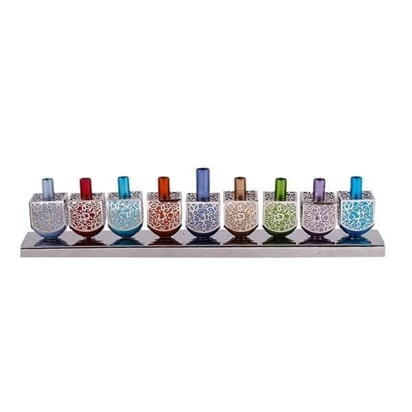 , Dreidel Chanukah menorah – Metal Cut – Colorful, Jewish.Shop