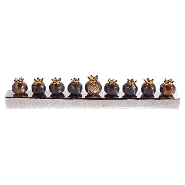, Chanukah menorah – Pomegranates – Copper, Jewish.Shop