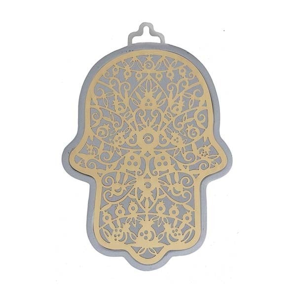 , Large Hamsa wall decoration – pomegranates in silver background, Jewish.Shop