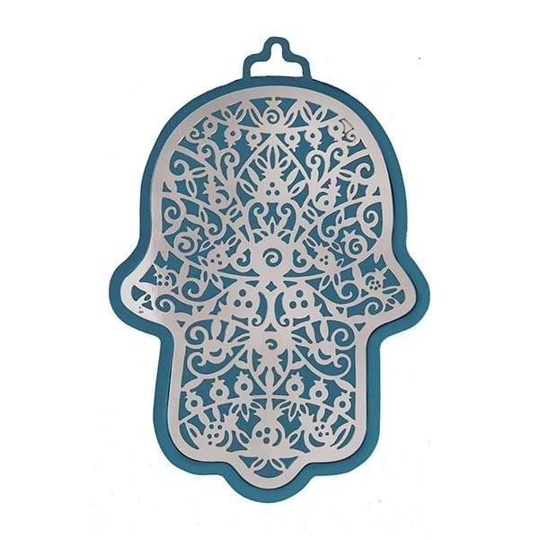 , Large Hamsa wall decoration – pomegranates in blue background, Jewish.Shop