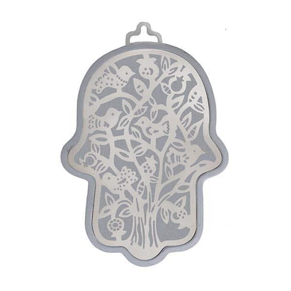 , Large Hamsa wall decoration – birds in silver background, Jewish.Shop