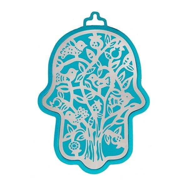 , Large Hamsa wall decoration – birds in turquoise background, Jewish.Shop