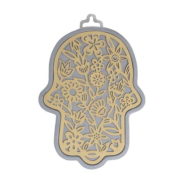 , Large Hamsa wall decoration –  flowers in silver background, Jewish.Shop