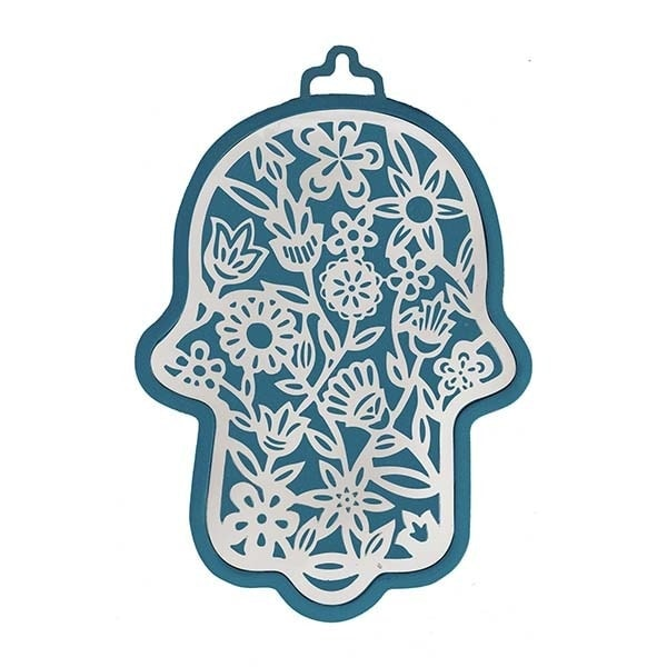 , Large Hamsa wall decoration – flowers in blue background, Jewish.Shop